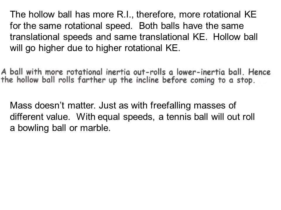The hollow ball has more R. I