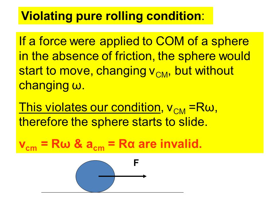 Violating pure rolling condition: