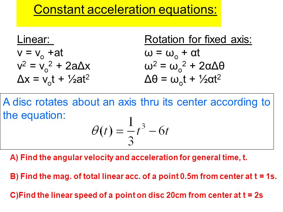 Constant acceleration equations: