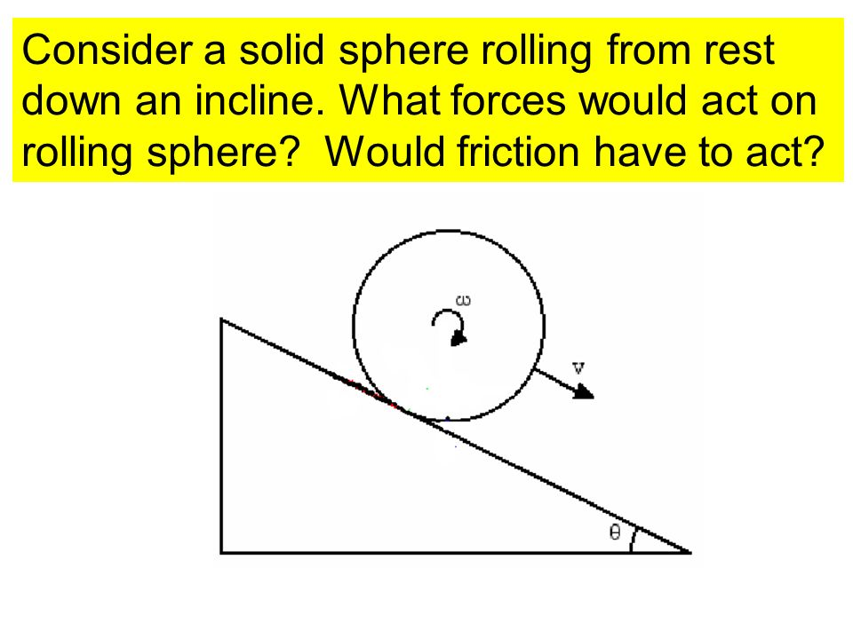 Consider a solid sphere rolling from rest down an incline