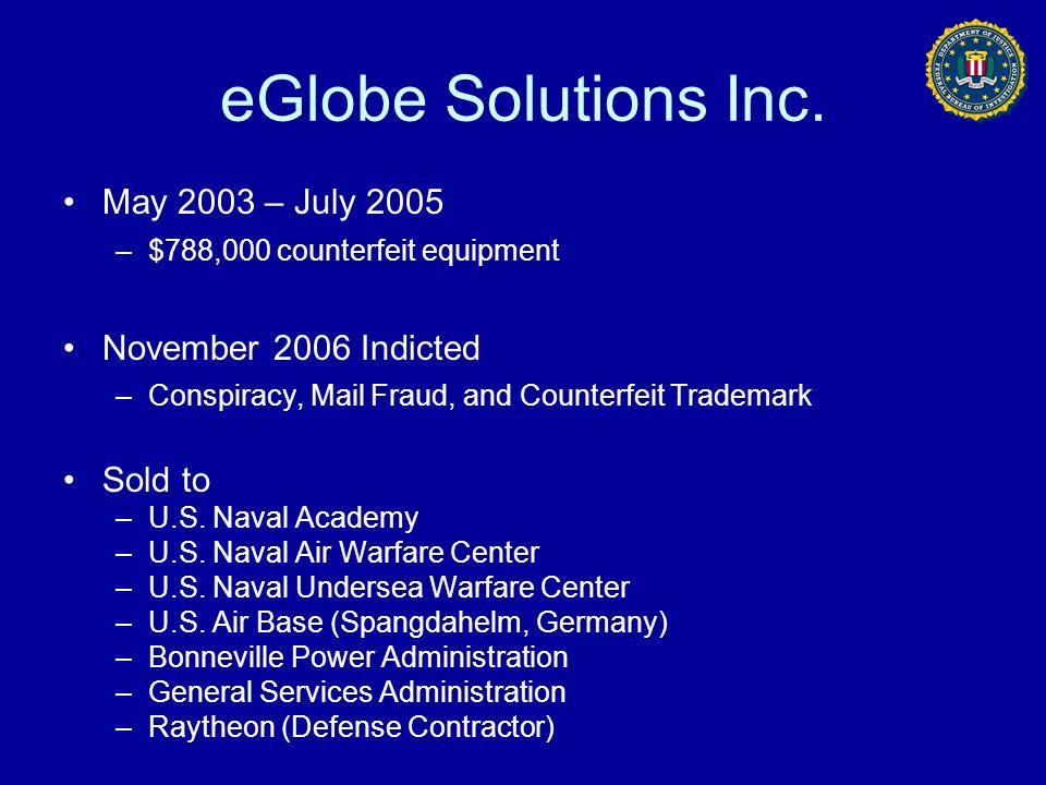 eGlobe Solutions Inc. May 2003 – July 2005 November 2006 Indicted