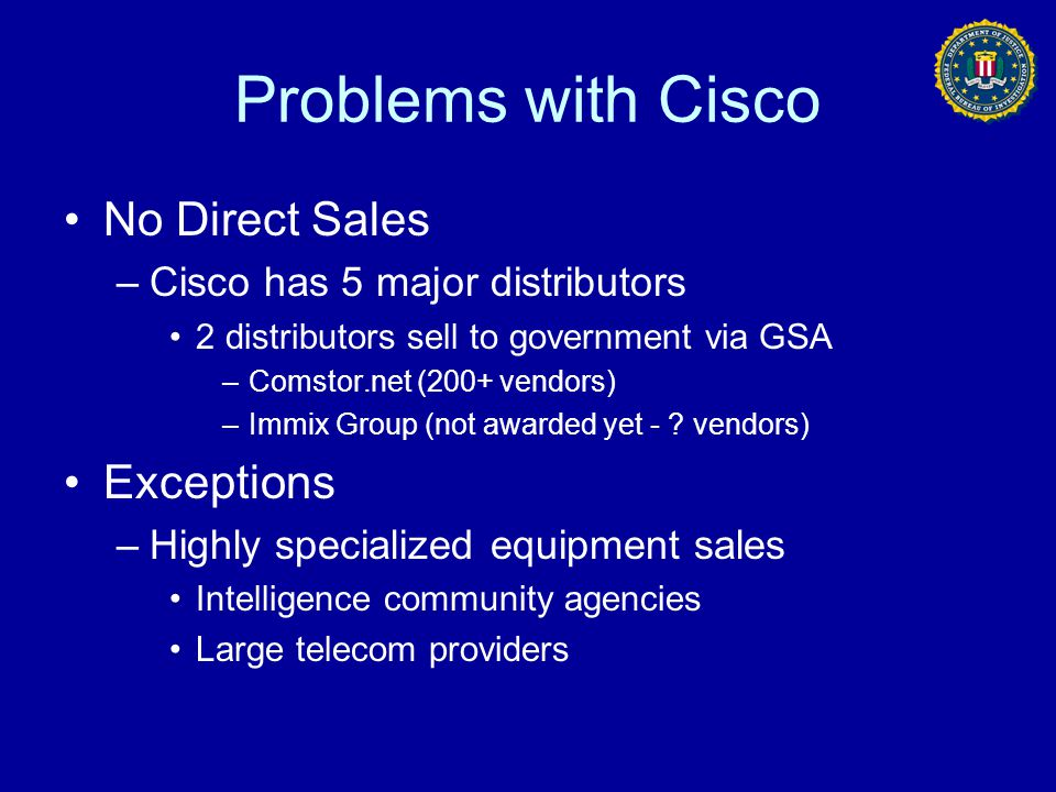 Problems with Cisco No Direct Sales Exceptions