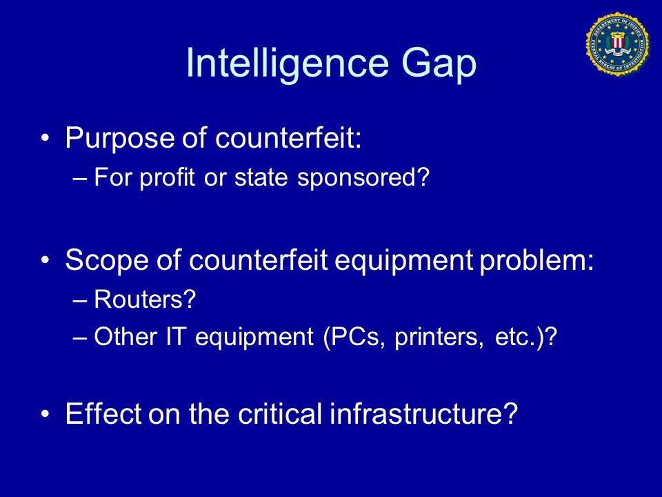 Intelligence Gap Purpose of counterfeit:
