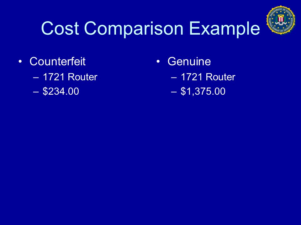 Cost Comparison Example
