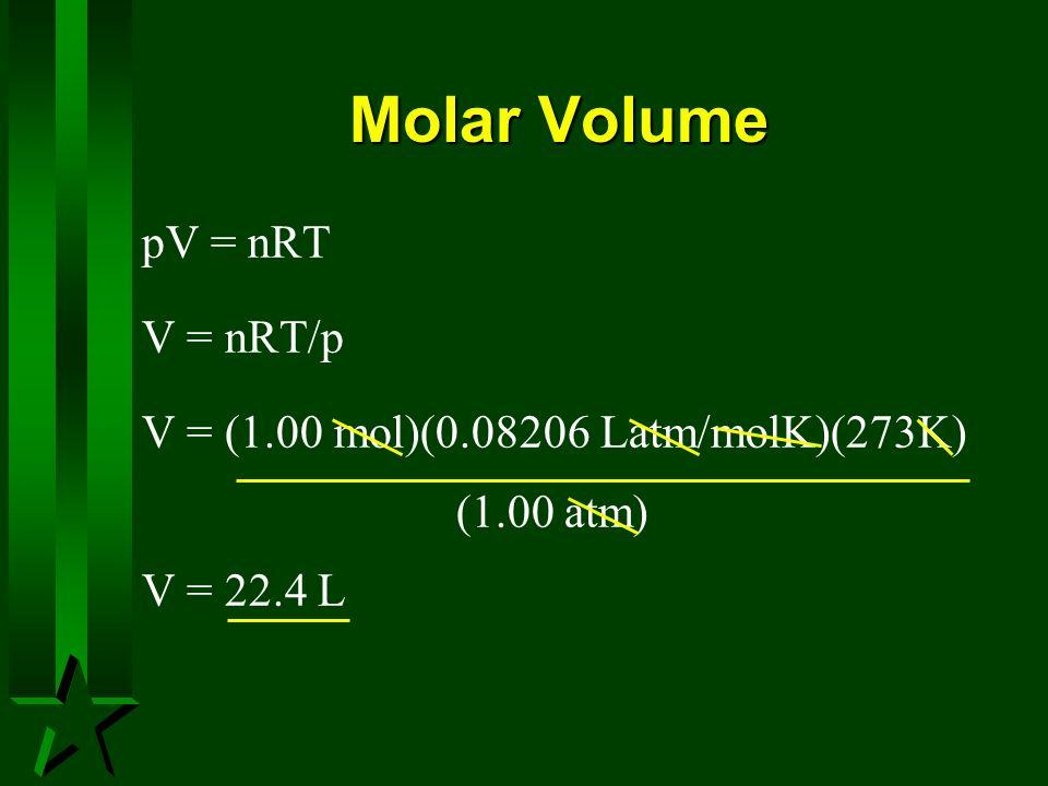 Molar Volume pV = nRT V = nRT/p