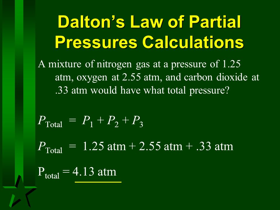 Dalton's Law of Partial Pressures Calculations