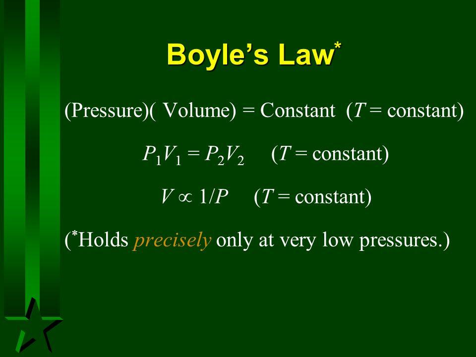 Boyle's Law* (Pressure)( Volume) = Constant (T = constant)