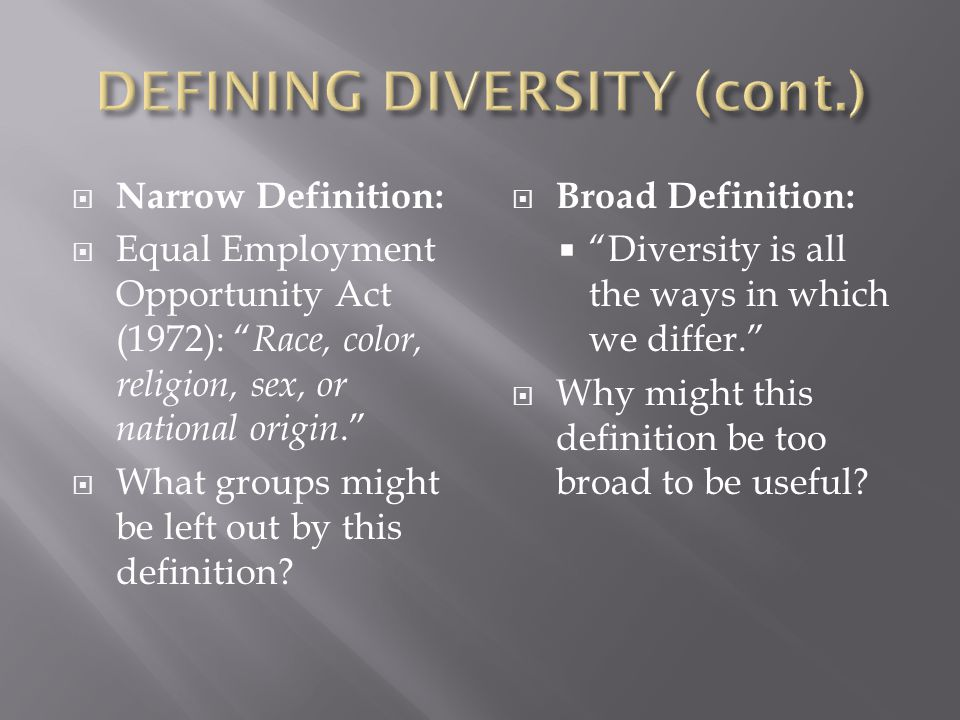 DEFINING DIVERSITY (cont.)