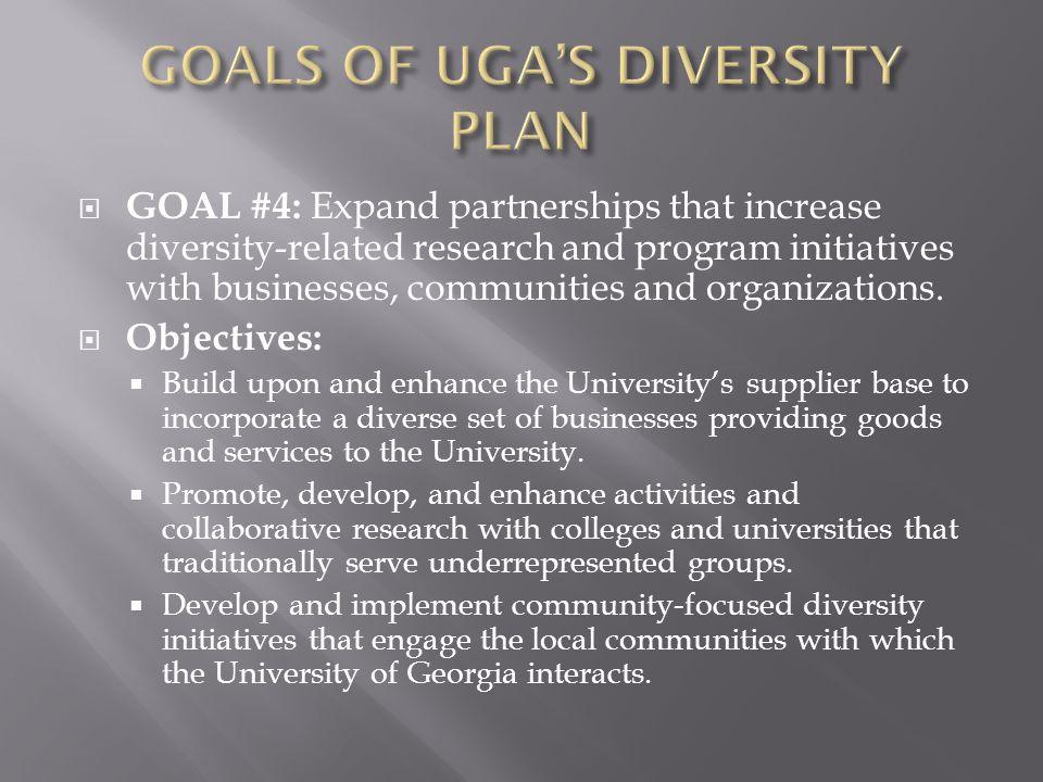 GOALS OF UGA'S DIVERSITY PLAN