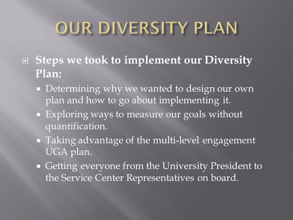 OUR DIVERSITY PLAN Steps we took to implement our Diversity Plan: