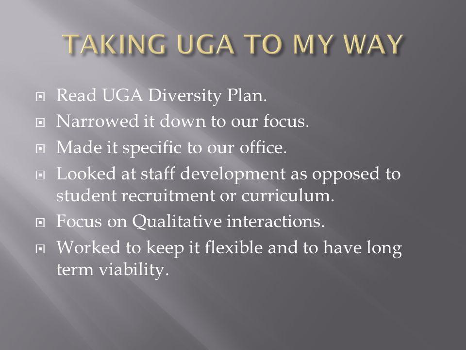 TAKING UGA TO MY WAY Read UGA Diversity Plan.