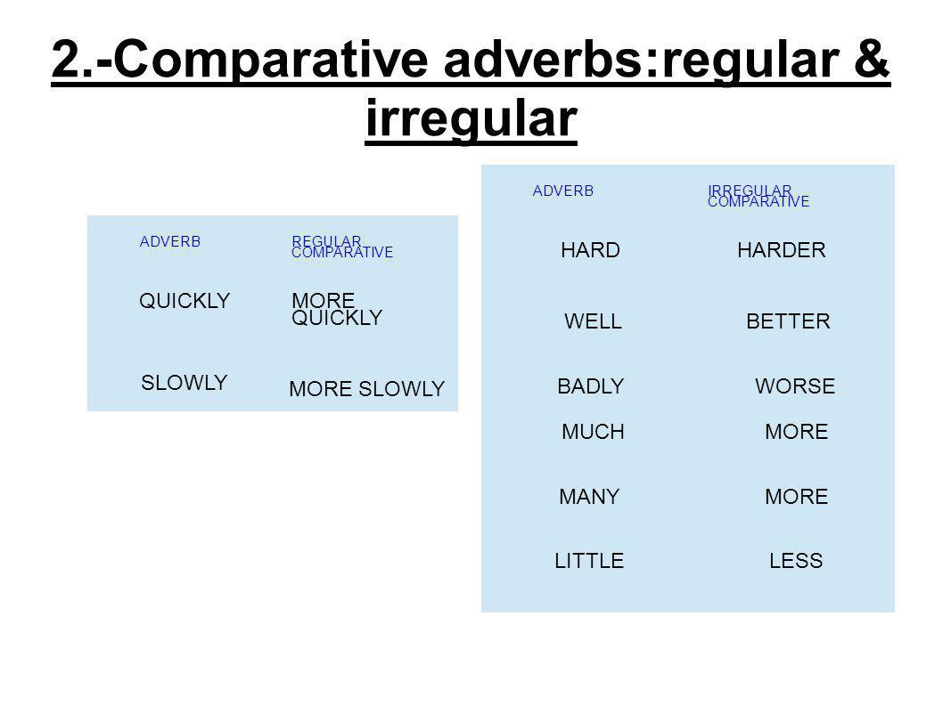 2.-Comparative adverbs:regular & irregular