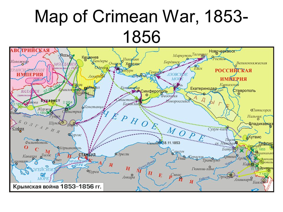 Map of Crimean War, 1853-1856