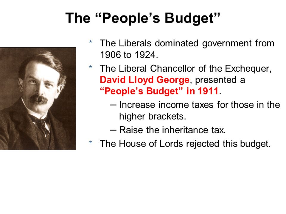 The People's Budget The Liberals dominated government from 1906 to 1924.
