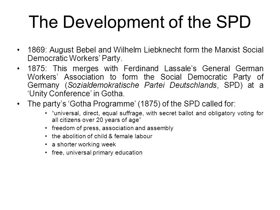 The Development of the SPD