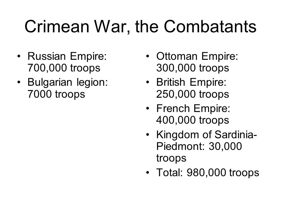 Crimean War, the Combatants