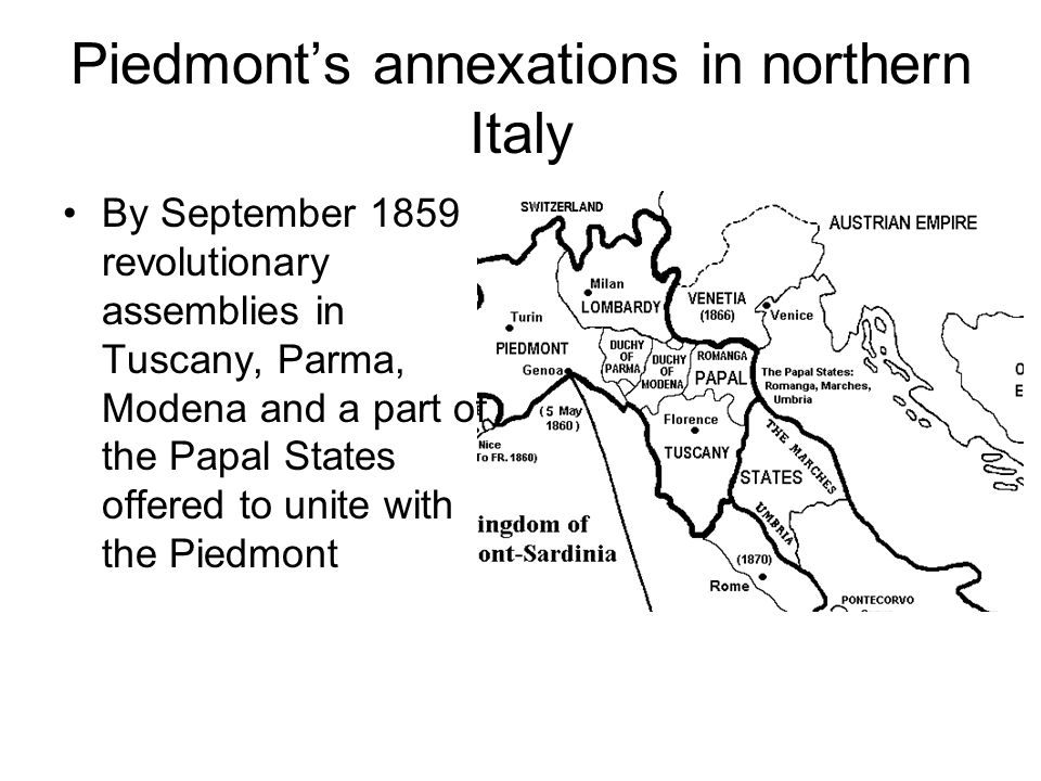 Piedmont's annexations in northern Italy