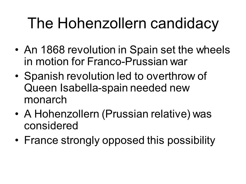 The Hohenzollern candidacy