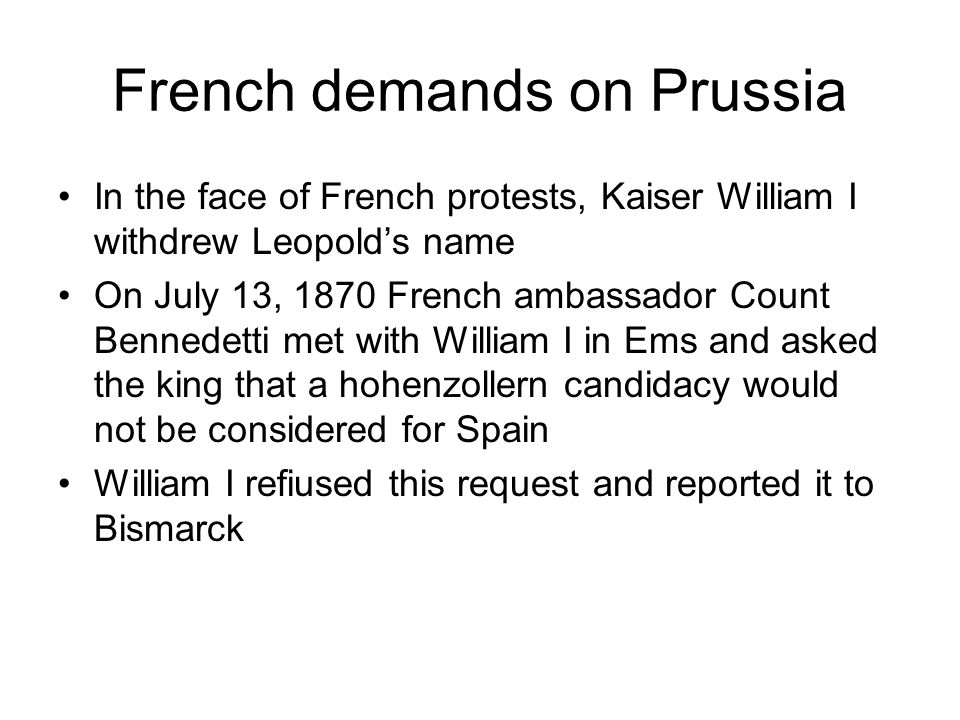French demands on Prussia