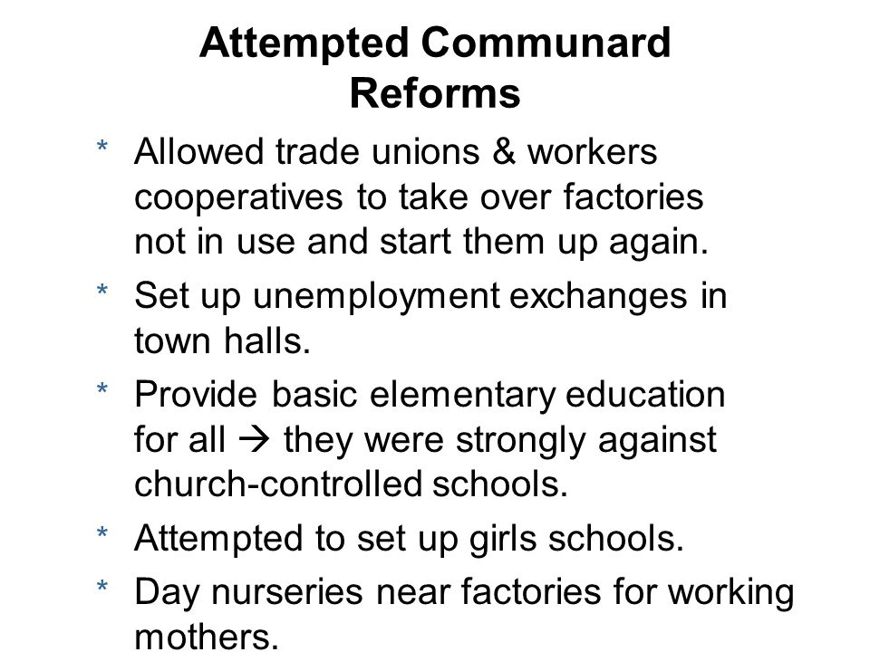 Attempted Communard Reforms