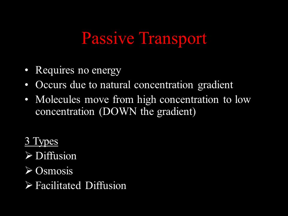 Passive Transport Requires no energy