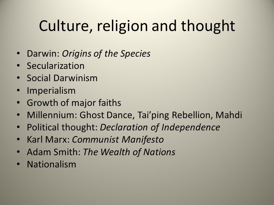 Culture, religion and thought