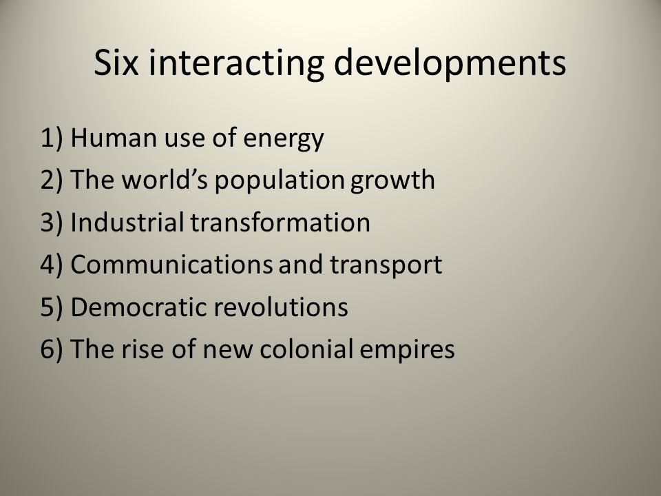 Six interacting developments