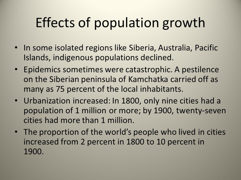 Effects of population growth