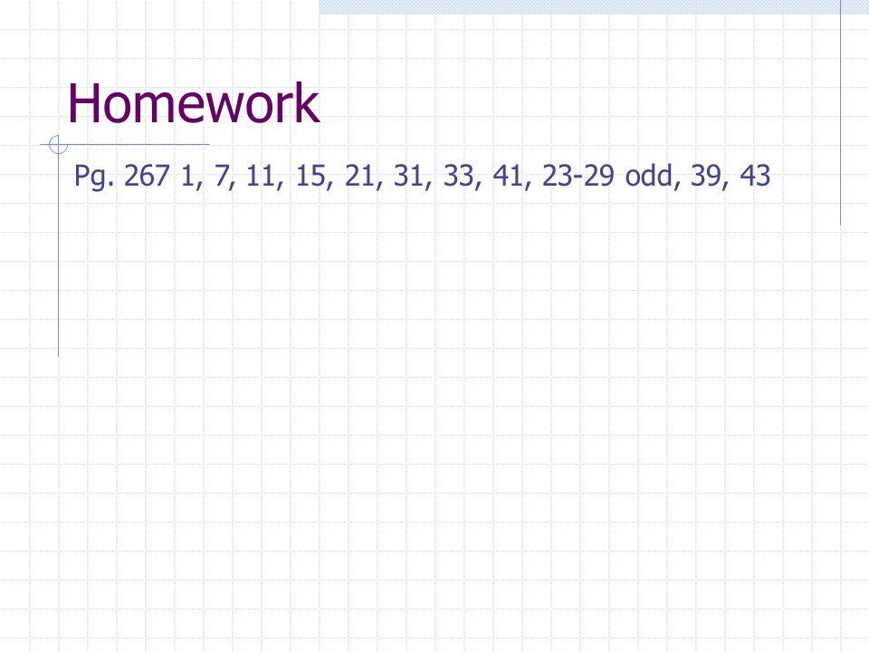 Homework Pg. 267 1, 7, 11, 15, 21, 31, 33, 41, 23-29 odd, 39, 43
