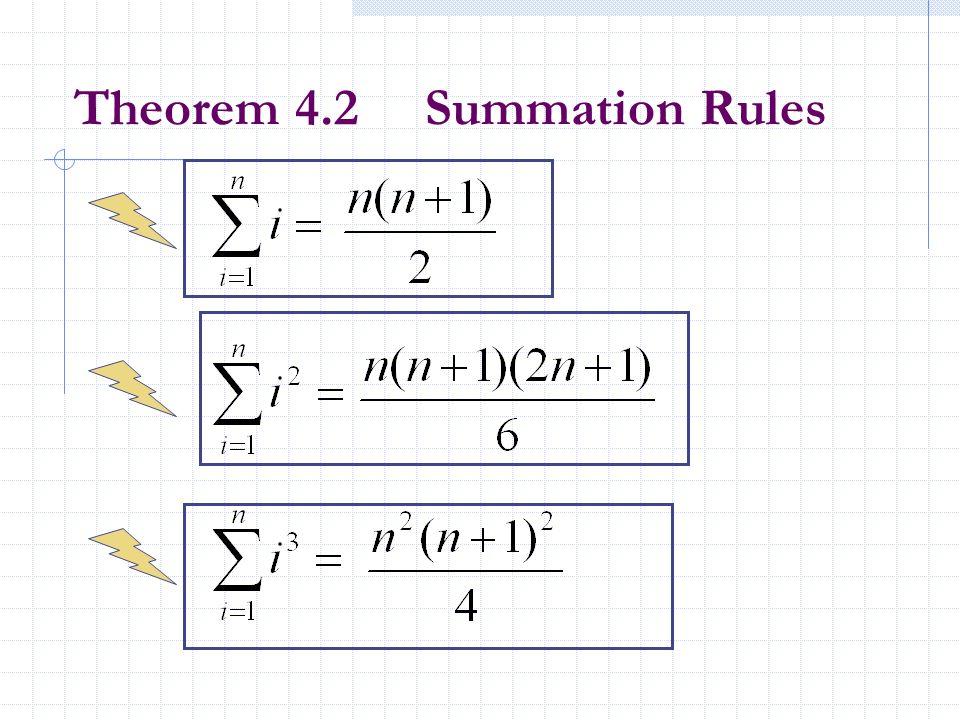 Theorem 4.2 Summation Rules