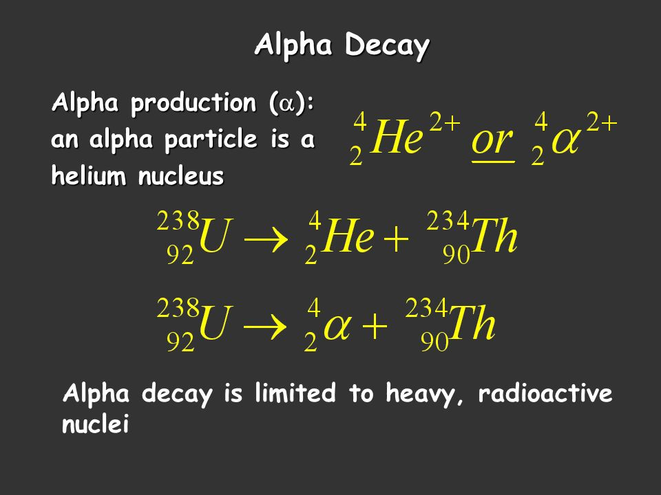 Alpha Decay Alpha production (a): an alpha particle is a