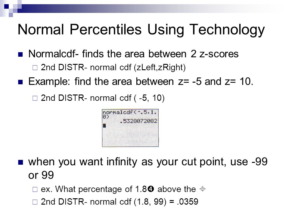 Normal Percentiles Using Technology