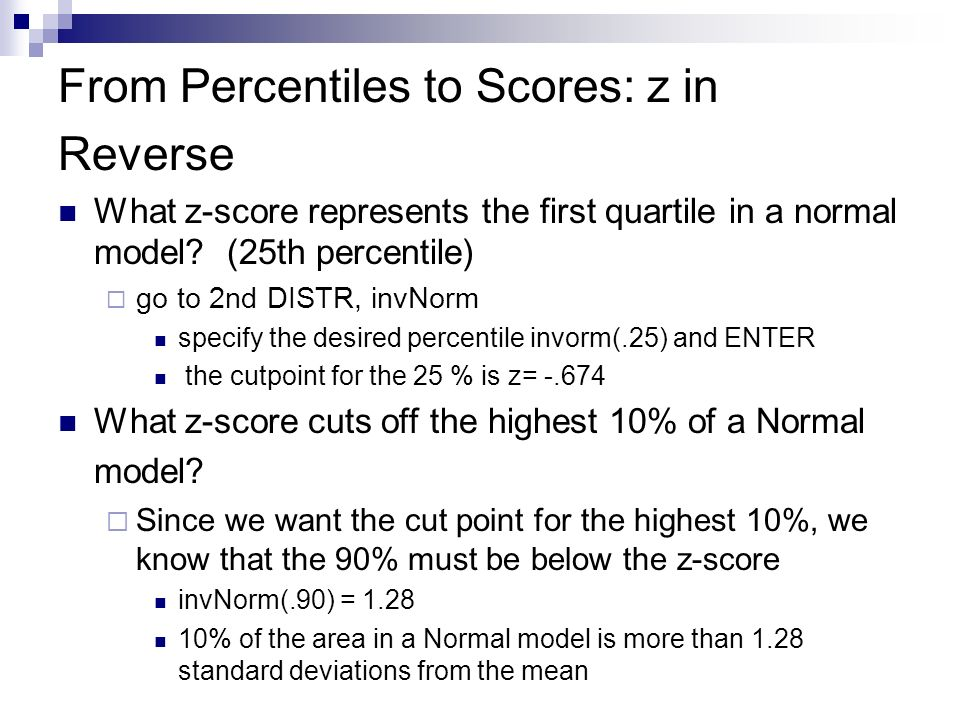 From Percentiles to Scores: z in Reverse