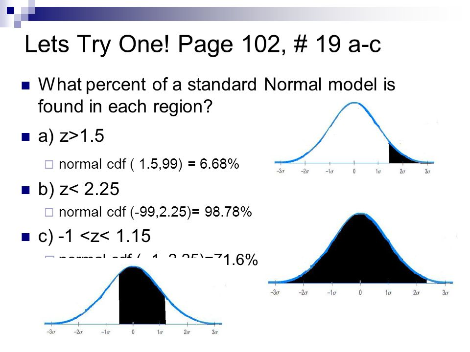 Lets Try One! Page 102, # 19 a-c What percent of a standard Normal model is found in each region a) z>1.5.