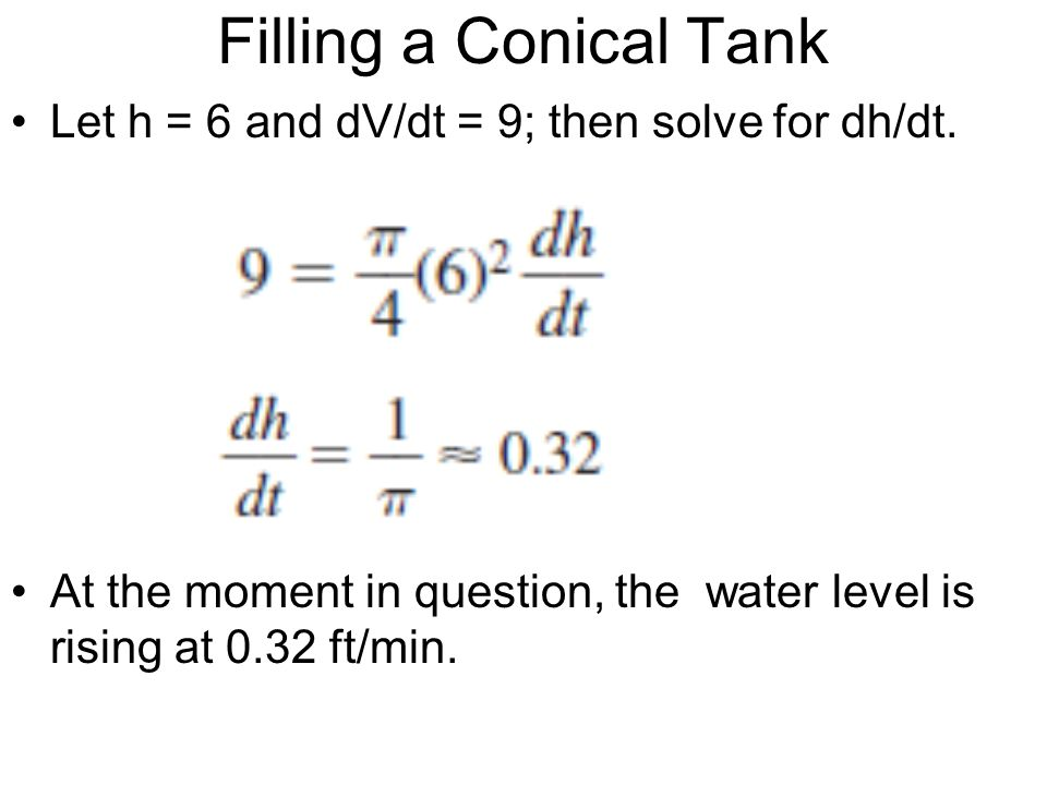 Filling a Conical Tank Let h = 6 and dV/dt = 9; then solve for dh/dt.