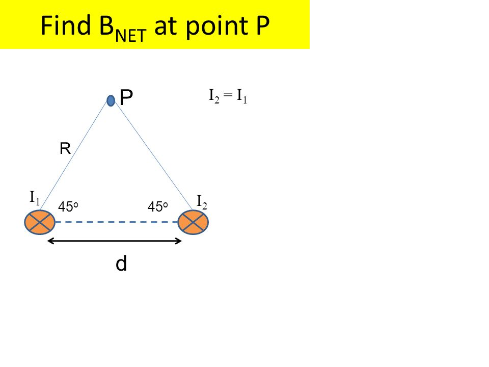 Find BNET at point P P 45o d R I2 = I1 I1 I2 45o