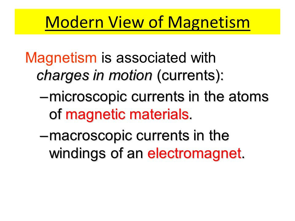 Modern View of Magnetism