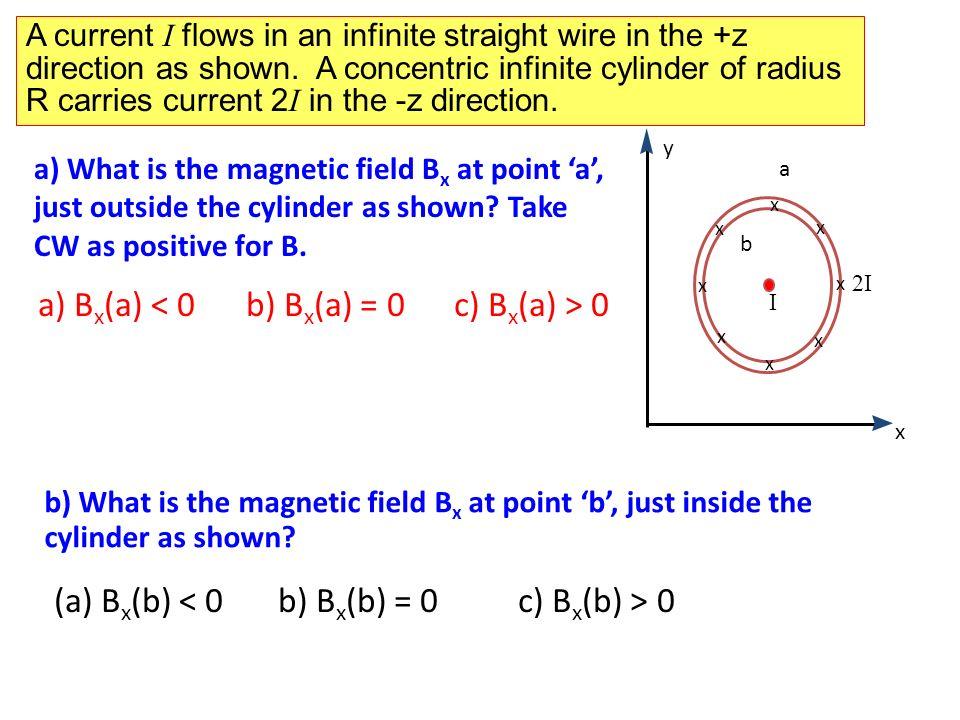 a) Bx(a) < 0 b) Bx(a) = 0 c) Bx(a) > 0 (a) Bx(b) < 0