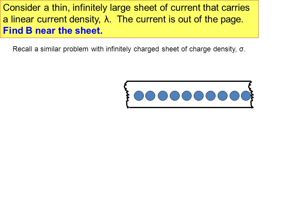 Consider a thin, infinitely large sheet of current that carries a linear current density, λ. The current is out of the page. Find B near the sheet.