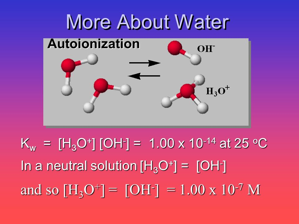 More About Water and so [H3O+] = [OH-] = 1.00 x 10-7 M Autoionization