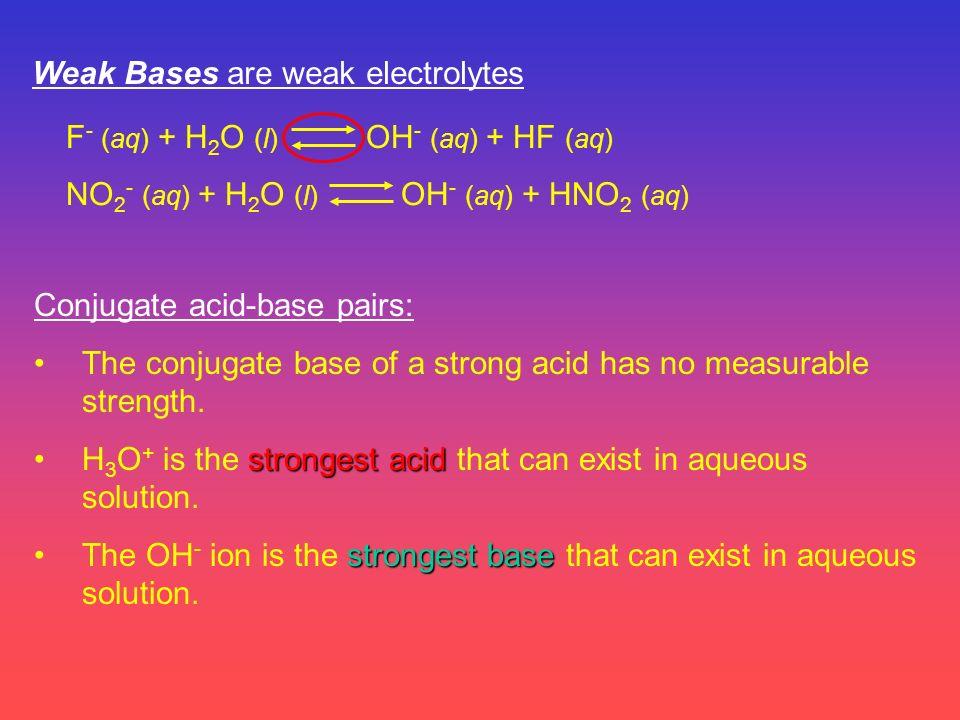 Weak Bases are weak electrolytes