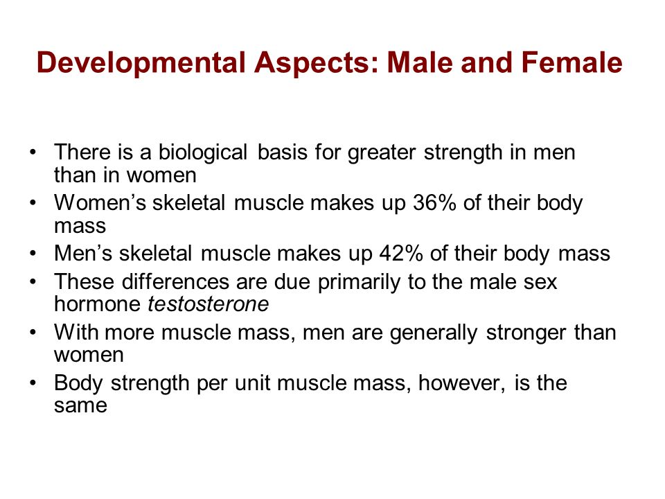 Developmental Aspects: Male and Female