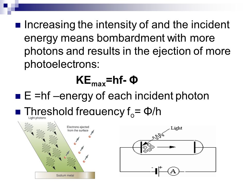 Increasing the intensity of and the incident energy means bombardment with more photons and results in the ejection of more photoelectrons: