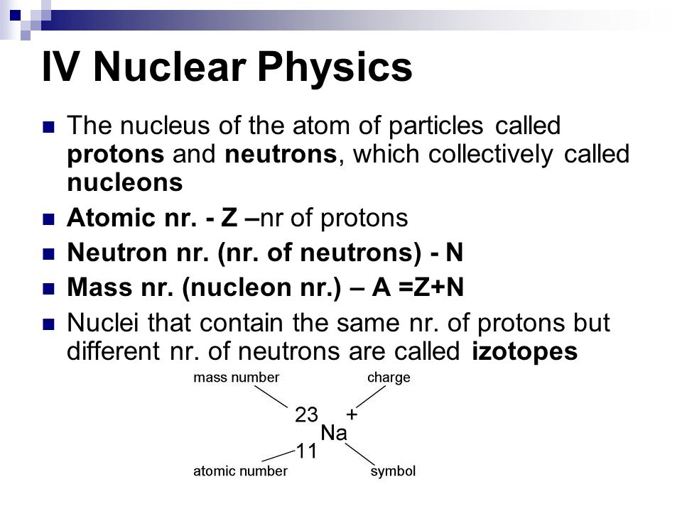 IV Nuclear PhysicsThe nucleus of the atom of particles called protons and neutrons, which collectively called nucleons.
