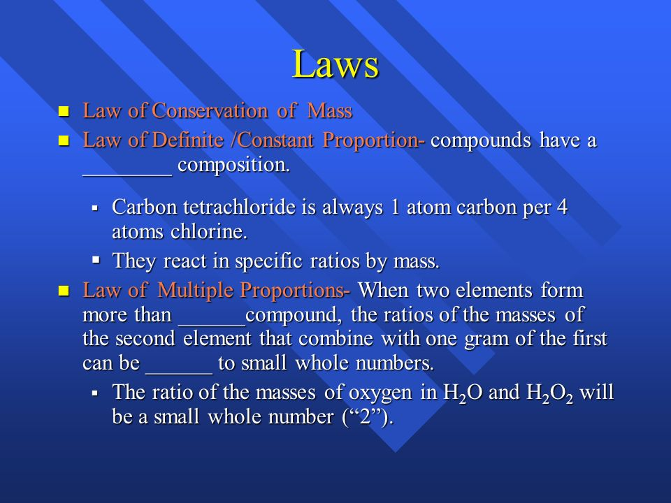Laws Law of Conservation of Mass