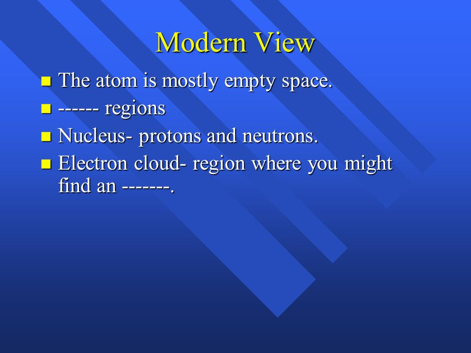 Modern View The atom is mostly empty space. ------ regions