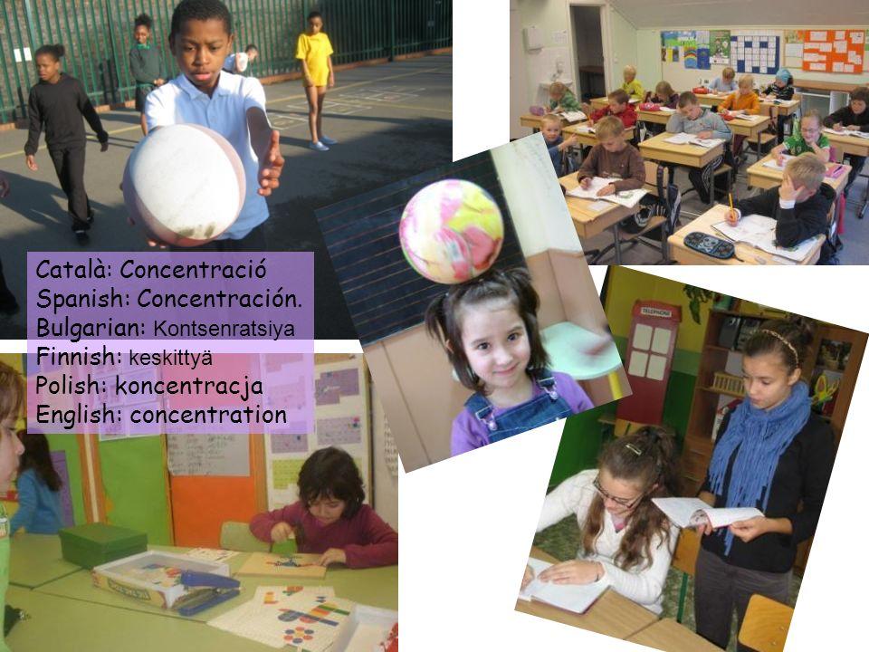 Català: Concentració Spanish: Concentración. Bulgarian: Kontsenratsiya. Finnish: keskittyä. Polish: koncentracja.
