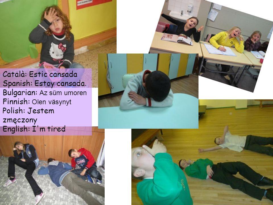 Català: Estic cansada Spanish: Estoy cansada. Bulgarian: Az sŭm umoren. Finnish: Olen väsynyt. Polish: Jestem zmęczony.