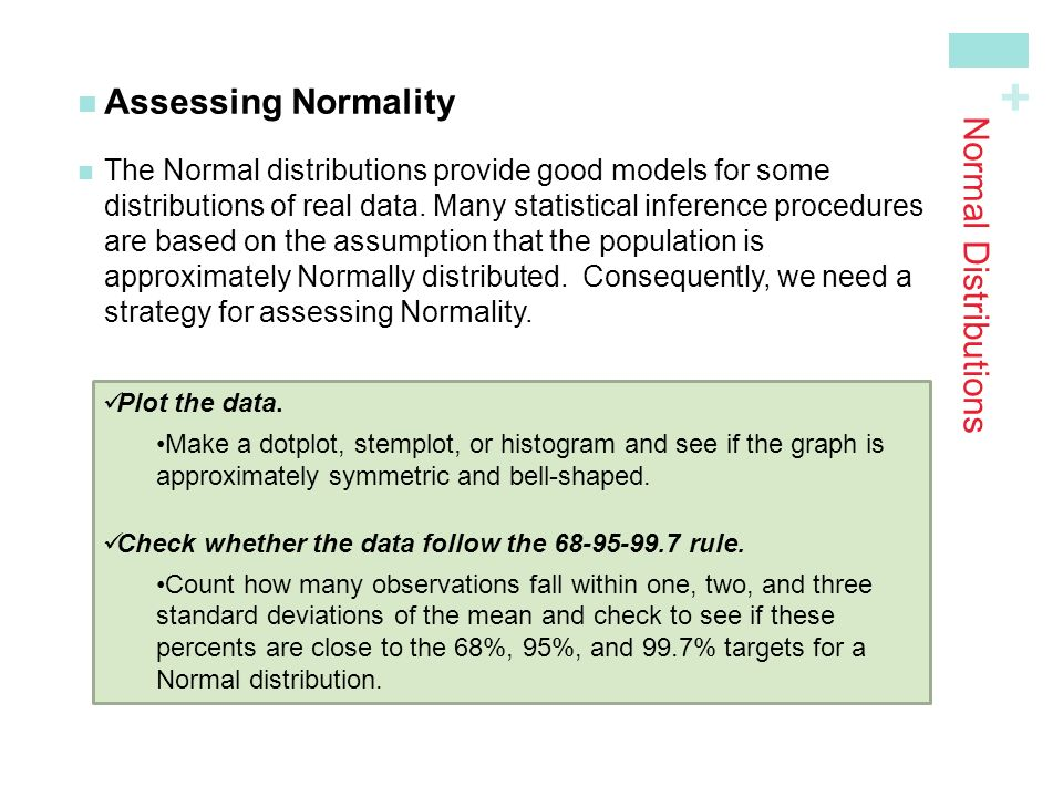 Assessing Normality Normal Distributions