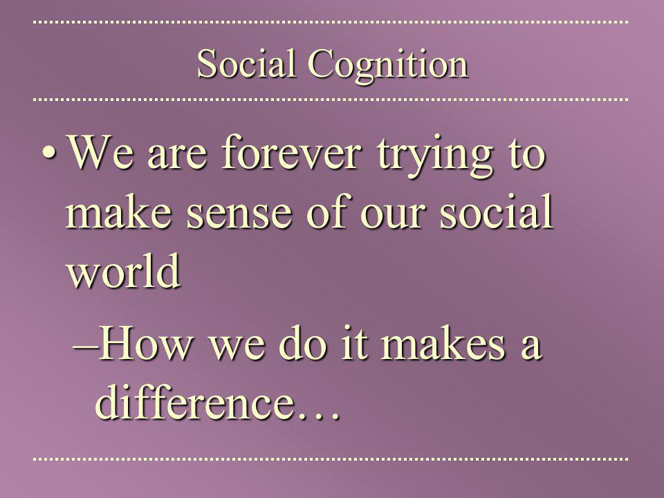 We are forever trying to make sense of our social world